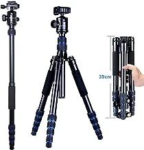 Moman Camera Tripod Monopod Alpenstock with Ball Head, Aluminum Alloy, Foldable Axis Inversion Design, Weight Capacity of 33 Lb