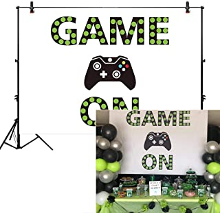 Allenjoy 7X5ft Video Game On Backdrop for Boys Birthday Party Banner Gaming Background Baby Shower Decorations Kids Dessert Table Supplies Photo Shoot Booth Props