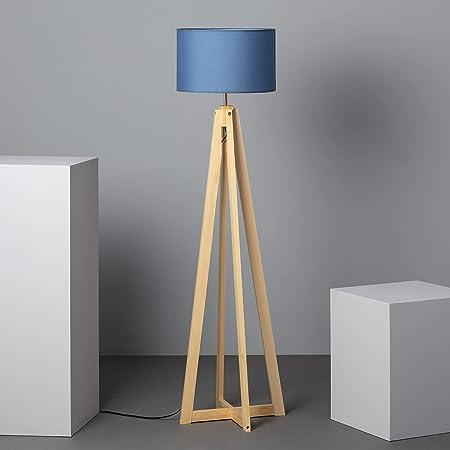 LEDKIA LIGHTING Lampadaire Korsade Ø430x1490 mm Bleu E27 Textile - Bois pour Décoration Salon, Chambre, Cuisine