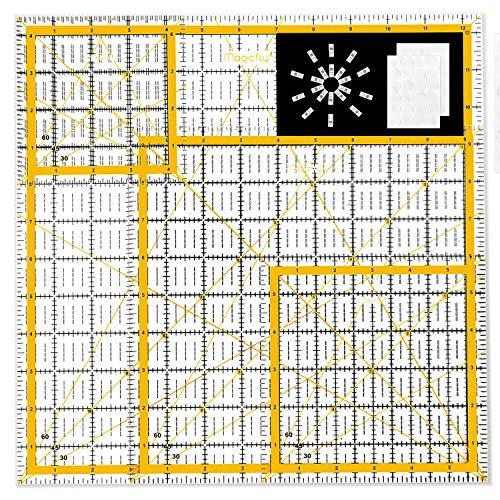 Magicfly Patchwork Quilt Lineal mit 48 Antirutschen Ringen und 20 Clips, 4 Stück Verschiedenen Größen Rasterlinien Universal Rollschneider Bastel Lineal zum Quilten und Nähen