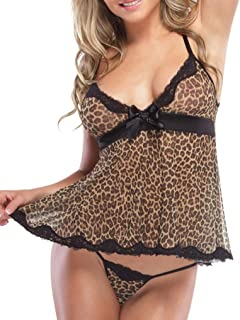 Clearance Sale! Women's Lingerie WEUIE Fashion Women Sexy Lingerie Leopard Print Temptation Nightgown Perspective Skirt