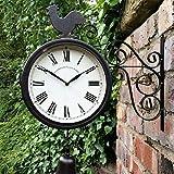 外庭の駅壁掛け時計ダブルフェイスオスのひな鳥ヴィンテージレトロホームデコレーション
