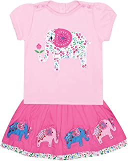 JoJo Maman Bebe Elephant Blossom T-Shirt & Skirt Set