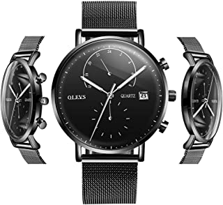 Men's Fashion Watch 24h Calendar Display Waterproof Quartz Watch with Luminous Analog Display Wrist Watches Business Watches with Classic Mesh Strap and Free Small Watch Tools