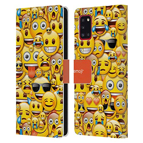 Head Case Designs Officially Licensed Emoji Smileys Full Patterns Leather Book Wallet Case Cover Compatible with Samsung Galaxy A31 (2020)