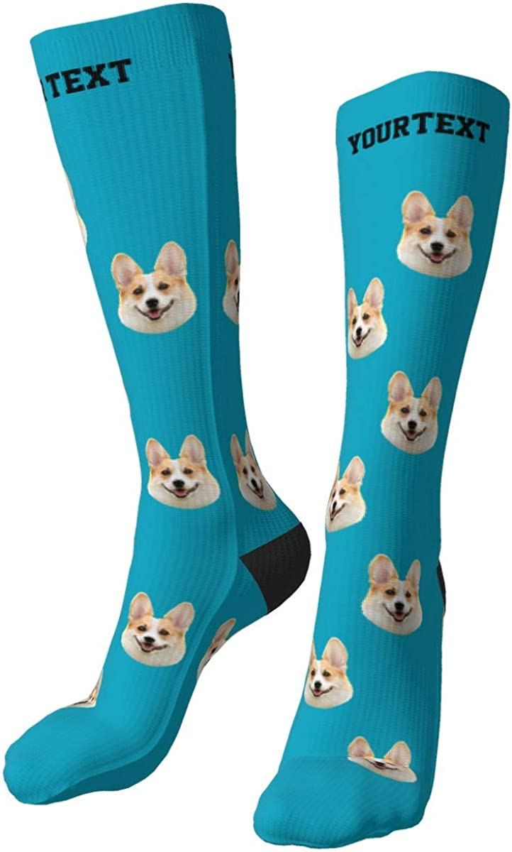 19.7in Custom Socks with Face,unisex Personalised Pet Face Photo Socks, Funny Socks with Photo ,put Your Pet Photo on Socks is Excellent Gift for Couple Family