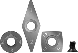 3 piece Carbide Mini Turning Tool Replacement Cutter Set. 1 each Square, Round and Diamond Shaped Cutters with 1 each replacement screw