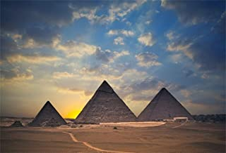 Leyiyi 6x4ft Egyptian Pyramids at Sunset Backdrop Pharaoh Grave African Travel Ancient Building Desert Dry Weather Sand Sky Photo Background Western Cowboy Adults Portrait Studio Prop Vinyl Banner
