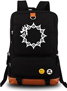 Anime The Seven Deadly Sins Luminous Large Capacity School Bag Cosplay Backpack Black and Blue
