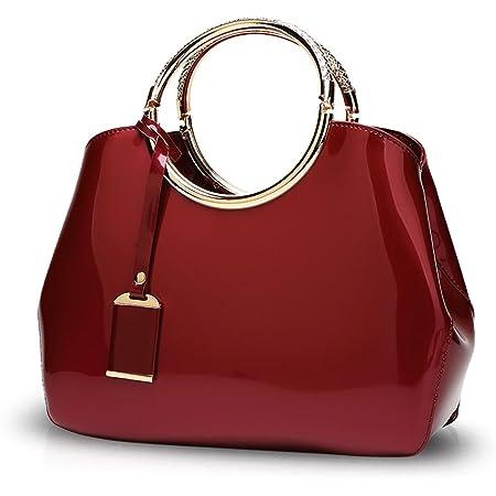 NICOLE&DORIS Damen Handtaschen Umhängetasche Schultertaschen Henkeltaschen Tasche Wasserdicht PU Rotwein