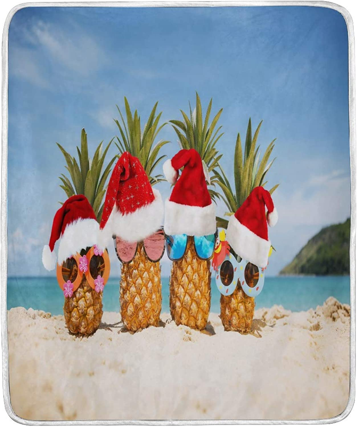 ALAZA Home Decor Hipster Pineapple Fruit Christmas Tropical Blanket Soft Warm Blankets for Bed Couch Sofa Lightweight Travelling Camping 60 x 50 Inch Throw Size for Kids Boys Women