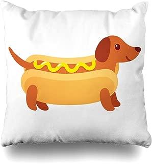 Pakaku Decorative Pillows Case Throw Pillows Covers for Couch Indoor Bed 18 x 18 Inch,Dachshund Puppy Hot Dog Bun Mustard Funny Cartoon Cute Weiner Home Sofa Cushion Cover Pillowcase Gift