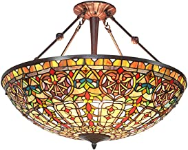 Barokke Tiffany hanglamp 27-inch elegante glas-in-lood plafondlamp indoor decoratieve plafond anti-kroonluchter 3 lichten ...