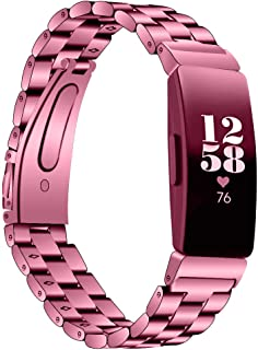 for Fitbit Inspire Luxury Watch Band Stainless Steel Watch Bracelets Deployment Clasp Metal Watch Strap Replacement Bracelet Strap for Men's Women's Watch