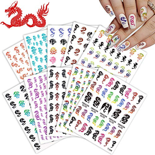 10 Sheets 3D Dragon Nail Art Stickers Self-Adhesive Dragon Nail Decals Dragon Nail Stickers for Nails Manicure Decorations Nail Art Accessories