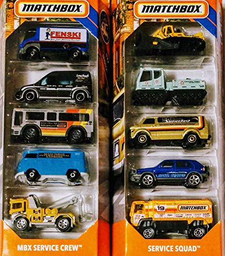 Matchbox 10 Vehicle Service Bundle Set Includes Service Squad 5 Pack and MBX Service Crew 5 Pack