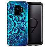 Galaxy S9 Case, ZUSLAB Pattern Design Armor, Shockproof Rubber Bumper, Drop Resistant Heavy Duty Protective Cover for Samsung S9, 2018 (Blue Mandala)