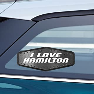 Makoroni - I LOVE HAMILTON Sticker Decal - Car Laptop Wall Stciker Decal - 3'by8' (Small) or 4.5'by10.5' (Large)