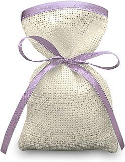 Crociedelizie, Stock 70 sacchetti bomboniere portaconfetti segnaposto in tela aida ecrù rifinitura in raso da ricamare a p...