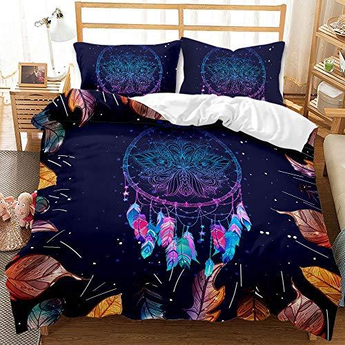 SK-YBB Juego de ropa de cama 3D con diseño de atrapasueños para niños, microfibra ultrasuave con fundas de almohada (A4, 200 x 200 cm + 80 x 80 cm)