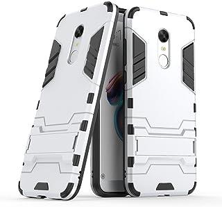 MaiJin Funda para Xiaomi Redmi 5 Plus (5,99 Pulgadas) 2 en 1 Híbrida Rugged Armor Case Choque Absorción Protección Dual Layer Bumper Carcasa con Pata de Cabra (Plateado)