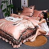 Venta De Fundas Nordicas,Ropa de cama de seda fresca de verano, falda de seda de doble cara de dos caras, conjuntos de cuatro juegos, extra grande, cama, cama, cama individual, cubierta de almohada a