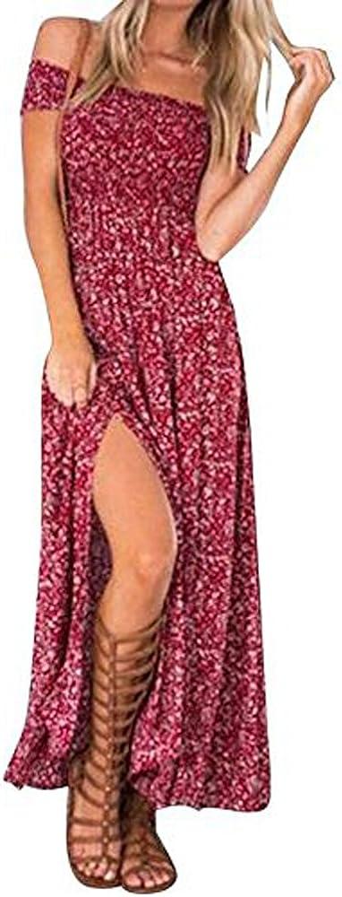 Womens Summer Maxi Dress Slit Split Boho Off Shoulder Long Beach Dress