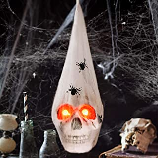 Halloween Realistic Skeleton Skull with Glowing Eyes, Super Stretch Spider Web for Halloween Party Favors and Halloween Decorations Props, 13.78 Inches