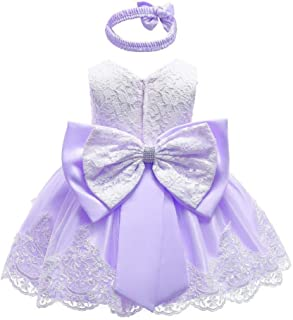 WUFAN Little Girls Cute Princess Lace Trim Fashion Bowknot Dresses