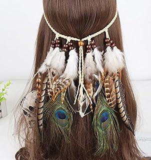 Cinta para el pelo con pluma, look bohemio para mujeres para fiesta de máscaras, disfraces y adornos para la cabeza.