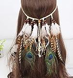 Cinta para el pelo con pluma, look bohemio para...