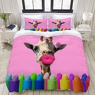 Mokale Duvet Cover,Zipper Closure,Modern Art Collage Giraffe Pink Lips,3 Pieces Bedding Set with 2 Pillow Shams King Size(104
