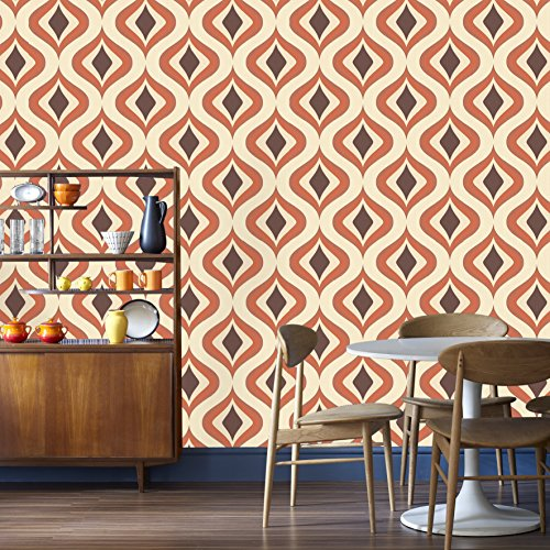 Graham & Brown 15195 Superfresco Easy Trippy Wallpaper, Orange