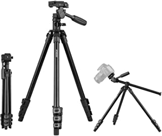 Aboodah Camera Tripod,Q160HA Professional Video Tripod Horizontal Mount Heavy Duty Camera Tripod with 3-Way Pan & Tilt Hea...