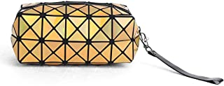 Brishow Accessories Makeup Bag Sequins Rainbow Geometric Laser Travel Cosmetic Bling Shiny Toiletry Pencil Bags Purses Foldable Waterproof Case for Women and Girls gold
