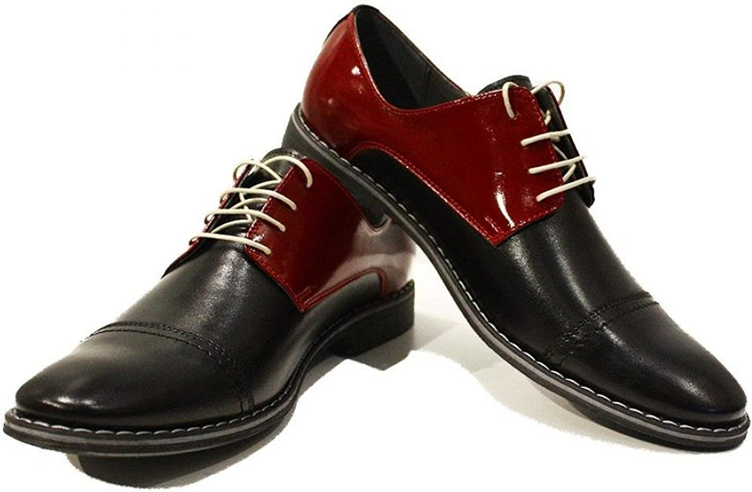 Modello Leone - Handmade Italian Leather Mens color Burgundy Oxfords Dress shoes - Cowhide Smooth Leather - Lace-Up