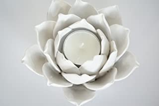 Ceramic Lotus Petals Style Flower Candle Holder Tea Lights Holder Home & Table top Decoration (White)