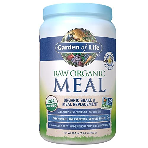 Garden of Life Meal Replacement - Organic Raw Plant Based Protein Powder, Vanilla, Vegan