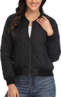 Womens Classic Quilted Jacket Lightweight Padded Long Sleeves Zip Up Puffer Coat Bomber Jacket