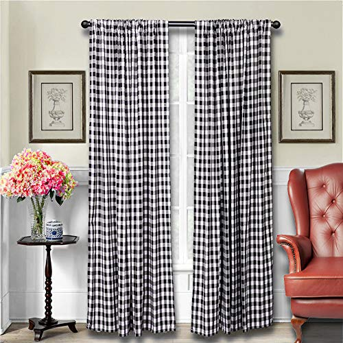 Pack of 2 Living Room Curtains, Farmhouse Curtains, Kitchen Curtains, 84 inch Curtains, Buffalo Check Curtains, Bedroom Curtains, Window Curtains, Basement Window Curtains, Black and White