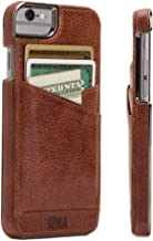 Sena Lugano Wallet ST, Leather Wrapped Card Holder snap on case for The & iPhone 6 7 8 - Cognac