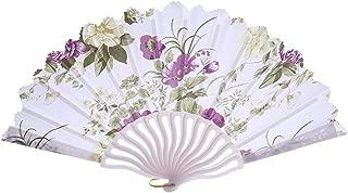 Holzkary Chinese Style Vintage Folding Hand Held Fan/Paper Fan/Feather Fan/Sandalwood Fan/Bamboo Fans for Wedding, Party, Dancing(24cm.Purple-Bloom)