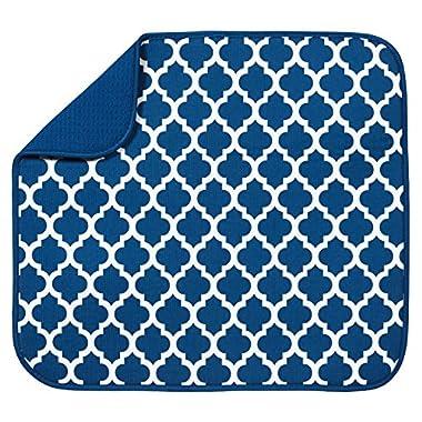 S&T Microfiber Dish Drying Mat, 16  x 18 , Blue Trellis