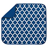 S&T INC. Absorbent, Reversible Microfiber Dish Drying Mat for Kitchen, 16 Inch x 18 Inch, Blue Trellis
