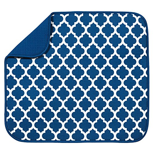 S&T INC. 582301 Dish Drying Mat, 16' x 18', Blue Trellis