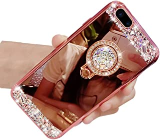 Lozeguyc iPhone 8 Plus Case,Luxury Crystal Rhinestone Soft Rubber Bling Diamond Glitter Mirror Makeup Case for iPhone 8 Plus 5.5 Inch with Detachable 360 Degree Ring Stand--Rose Gold