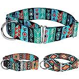CollarDirect Martingale Dog Collar Nylon Safety Training Tribal Pattern Adjustable Heavy Duty Collars for Dogs Medium Large (Pattern 1, Large, Neck Size 15'-20')
