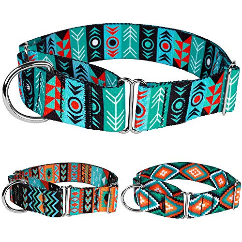 CollarDirect Martingale Dog Collar Nylon Safety Training Tribal Pattern Adjustable Heavy Duty Collars for Dogs Medium Large (Pattern 1, Large, Neck Size 15-20)