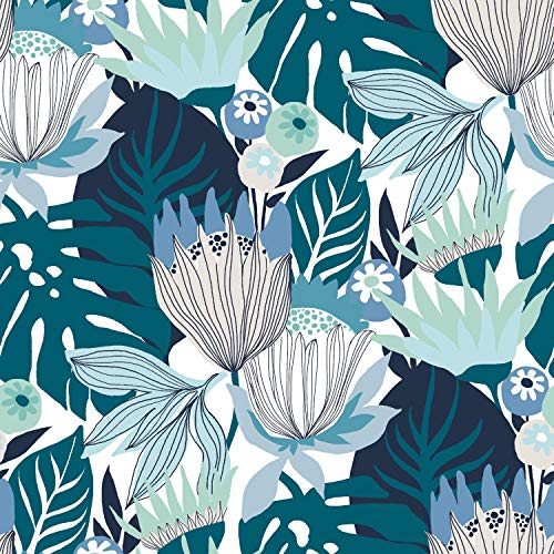 RoomMates Retro Tropical Leaves Blue & Green Peel and Stick Wallpaper | Removable Wallpaper | Self Adhesive Wallpaper