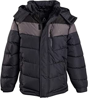 Reebok Boys Thick Bubble Jacket with Removable Hood, Black/Medium Grey/Charcoal, Size Small (8)